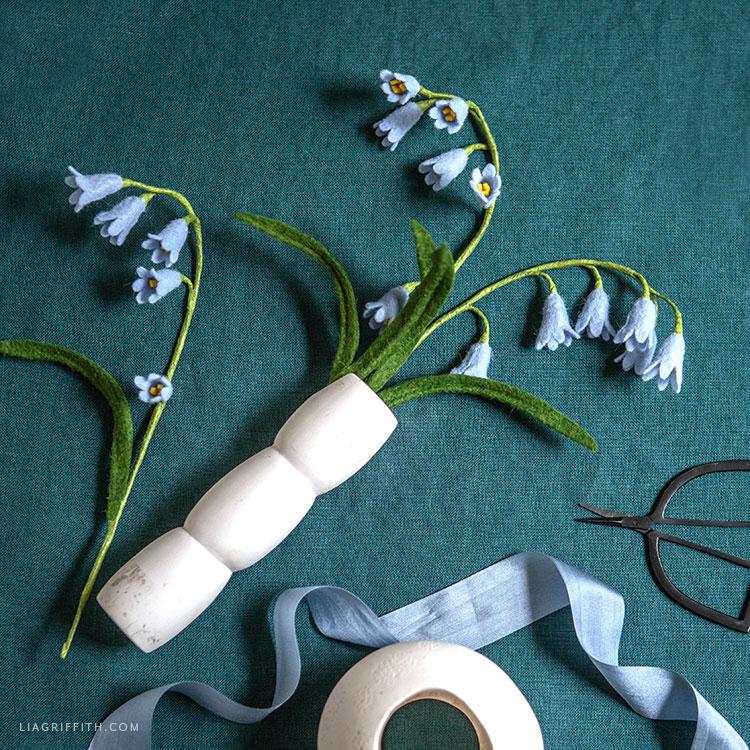 Handmade felt bluebells