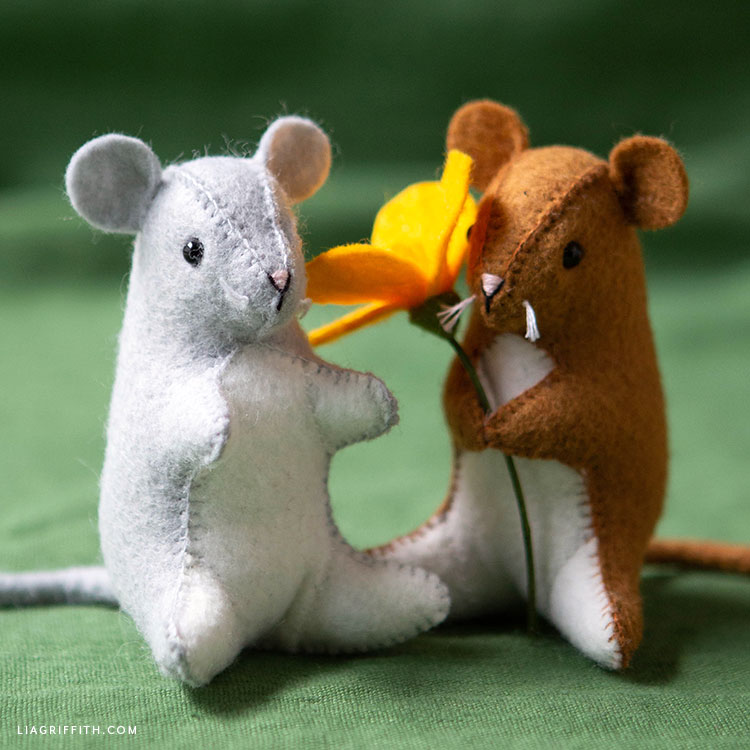 handsewn felt mouse stuffies