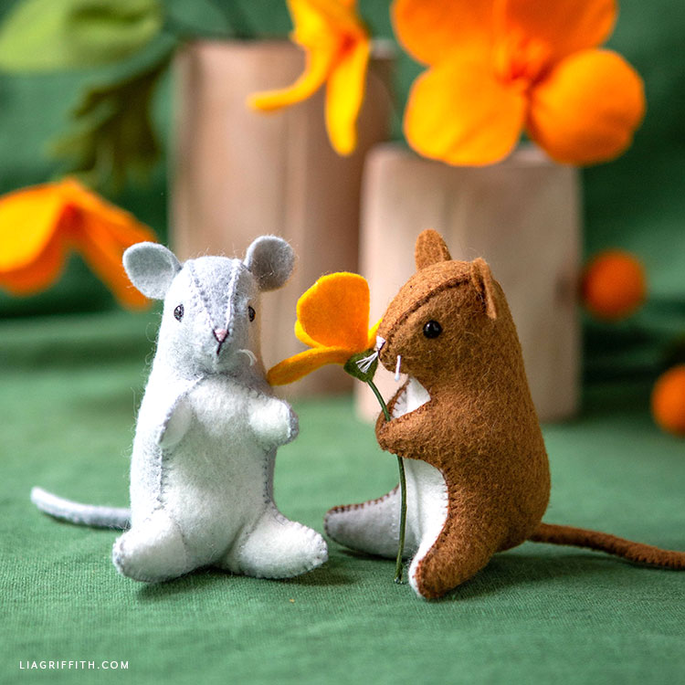 felt mouse stuffies with felt poppies