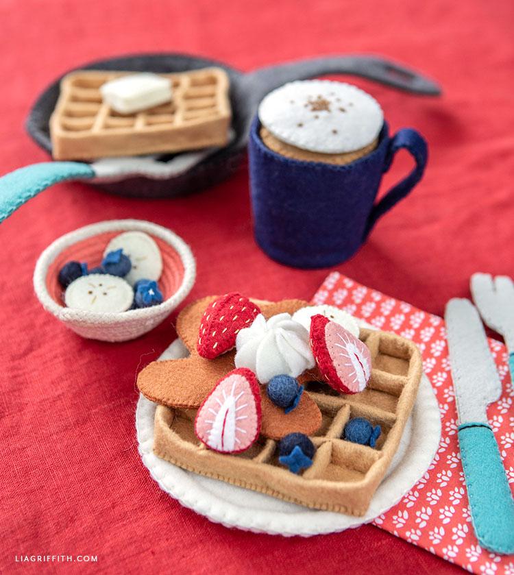handmade felt waffles with felt toppings and felt cocoa