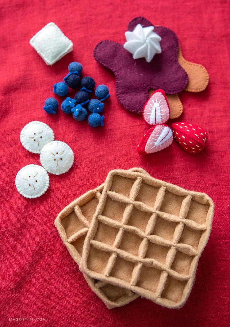 DIY felt waffles with felt fruit and felt toppings