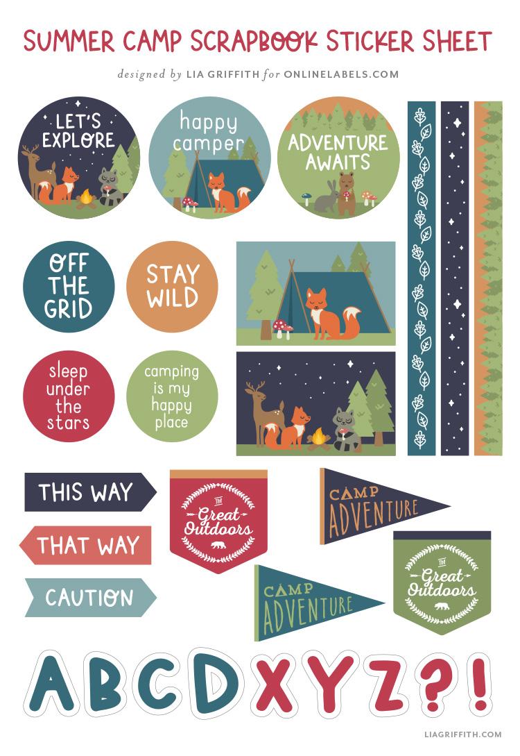 free summer camp scrapbook sticker sheet