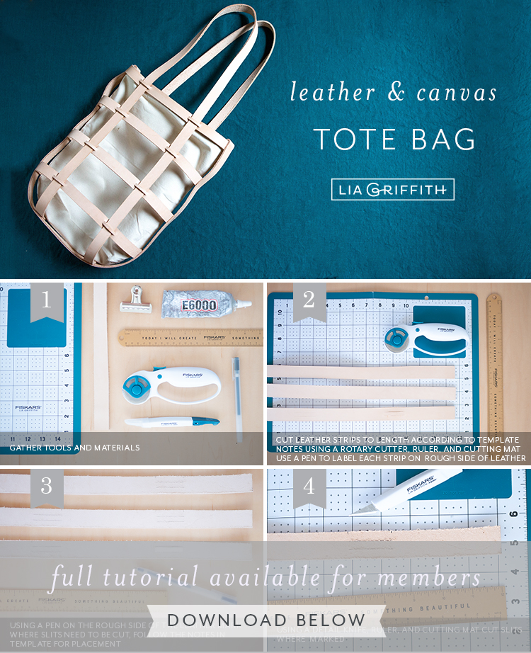 Photo tutorial for canvas leather tote bag by Lia Griffith