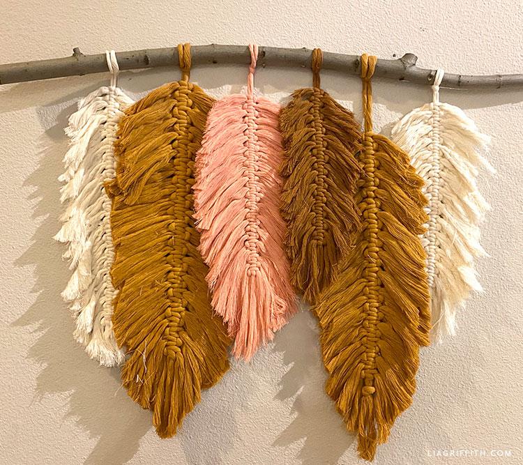 macrame feather wall decor