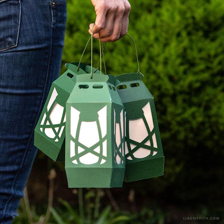 DIY papercut camping lanterns
