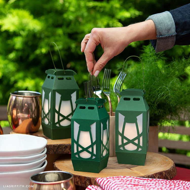 papercut camping lanterns for outdoor party