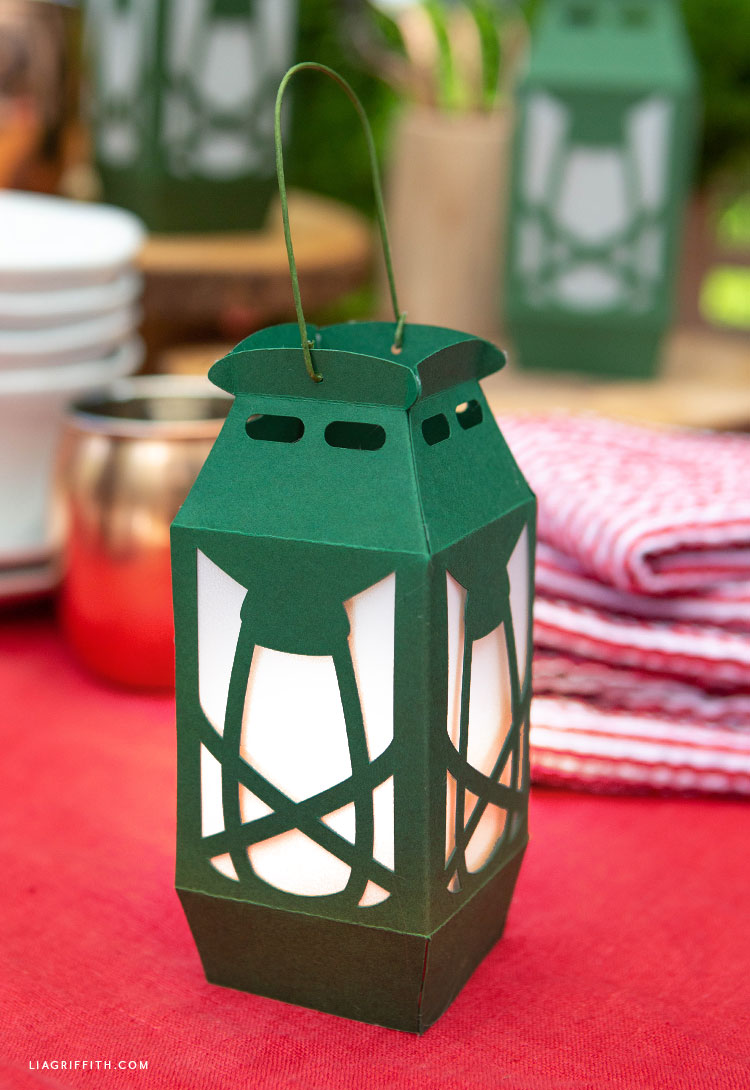 papercut camping lantern