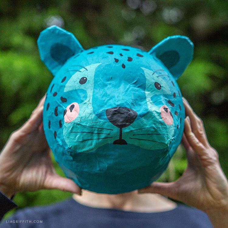 DIY paper mache leopard head