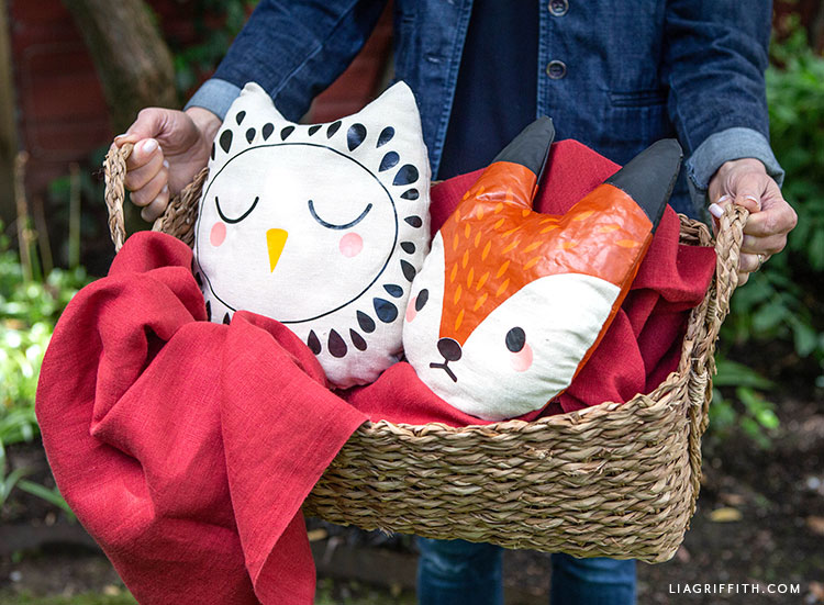 iron-on heat transfers for owl and fox pillow