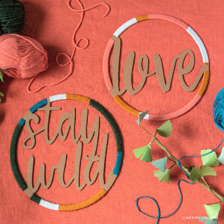 Yarn and chipboard word wall decor