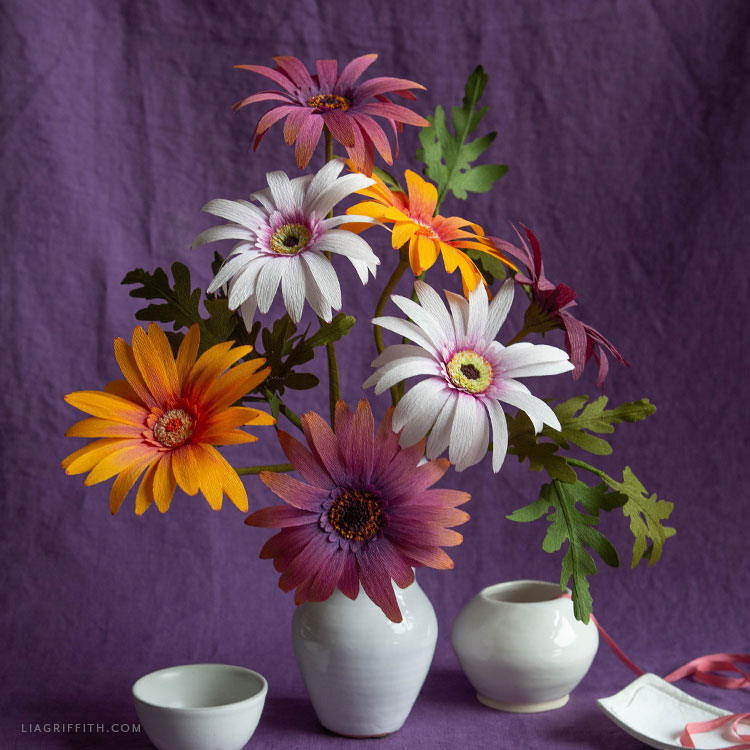 crepe paper African daisy bouquet