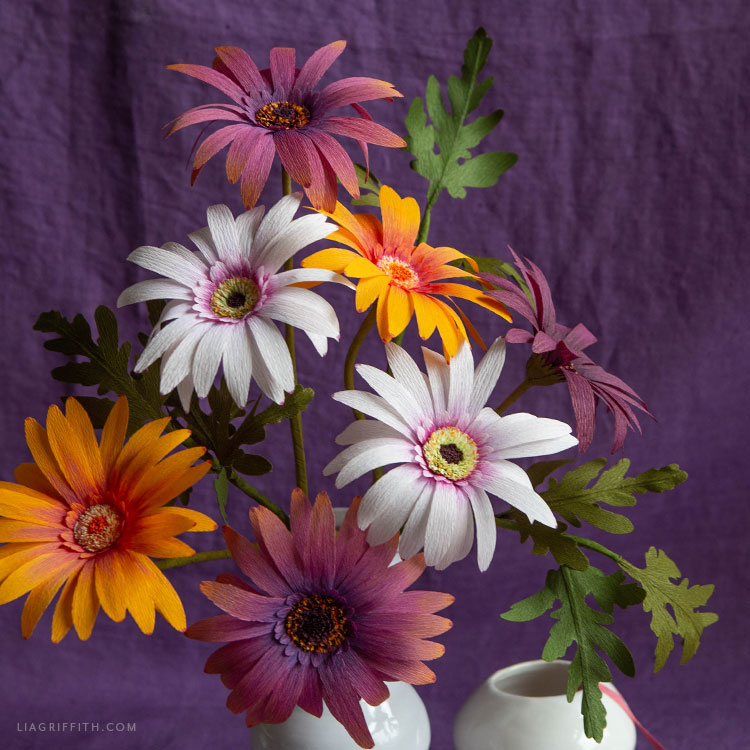 DIY crepe paper African daisy bouquet