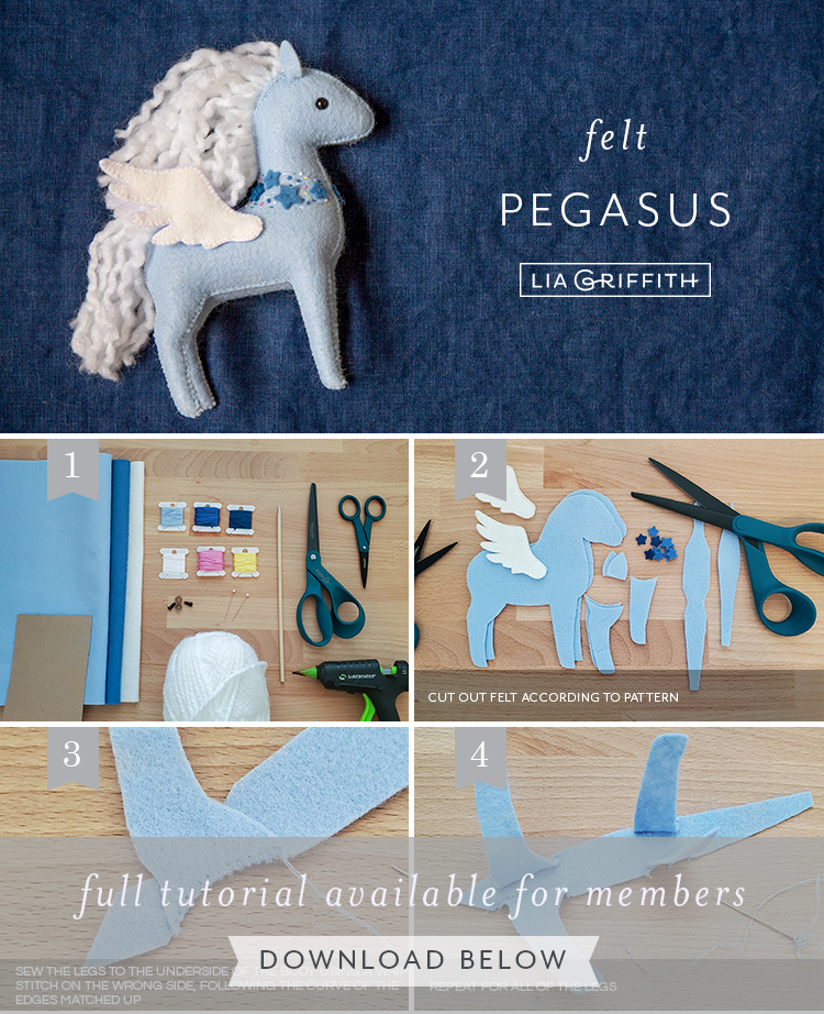 Photo tutorial for felt pegasus by Lia Griffith
