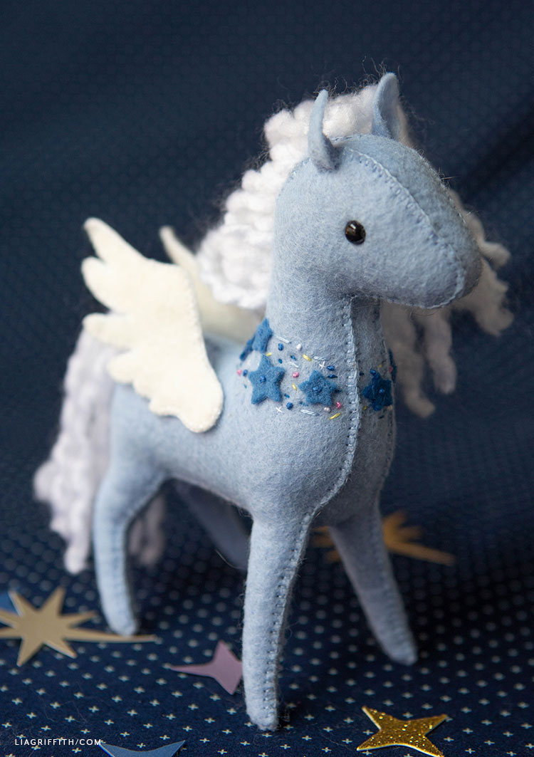 felt pegasus stuffie with embroidered stars