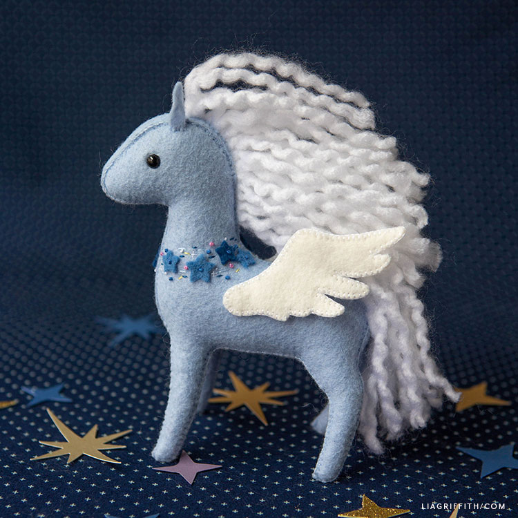 felt pegasus stuffie with wavy hair