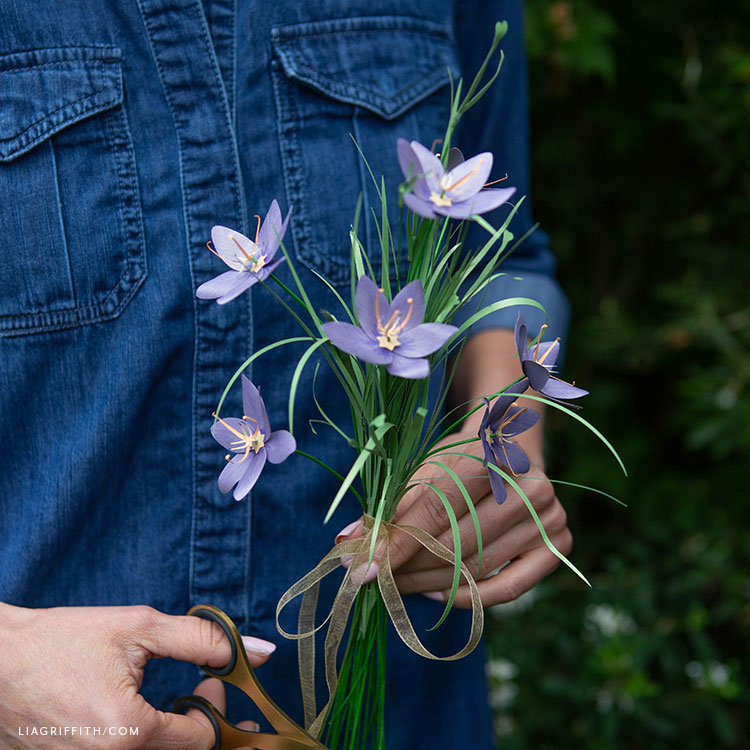 handcut frosted paper celestial lily flowers