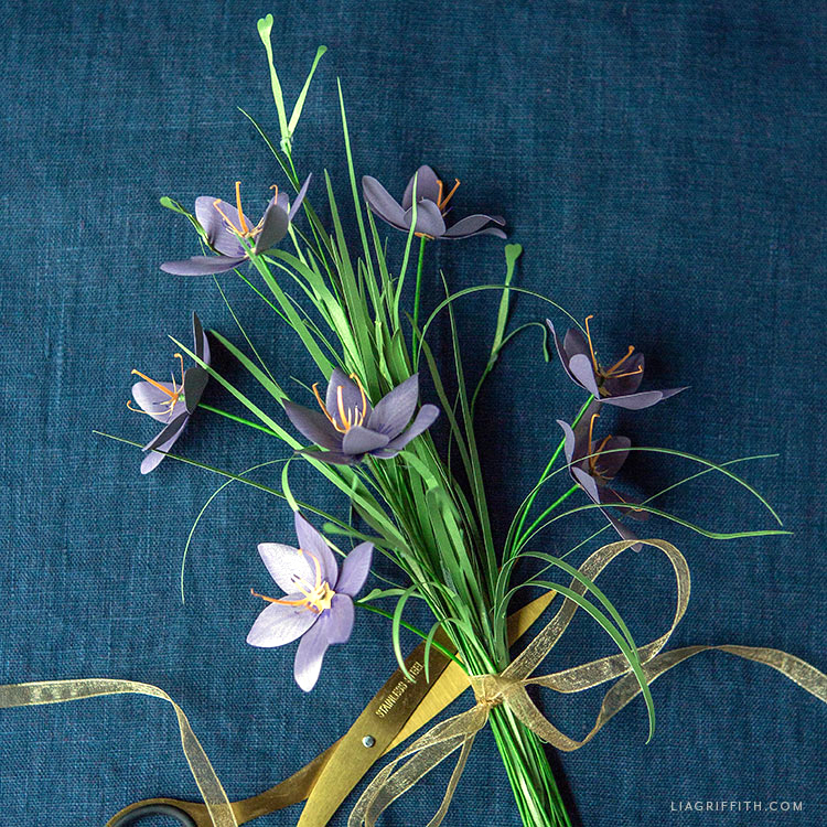 frosted paper celestial lily flowers