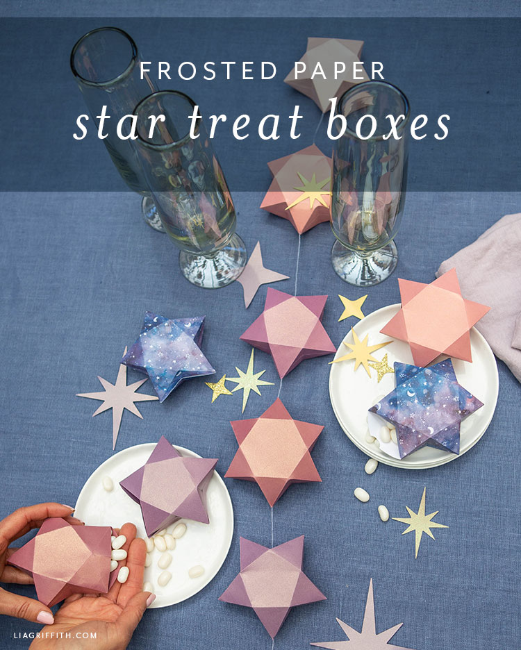 frosted paper 3D star treat boxes