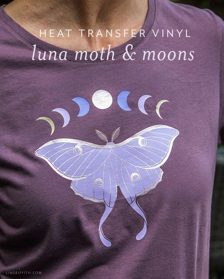 luna moth and moons heat transfer vinyl iron-on