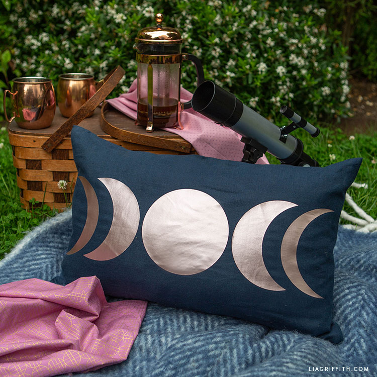 DIY moon phases pillow