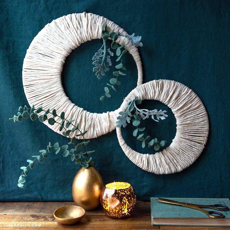 macrame rope moon wreaths with felt eucalyptus