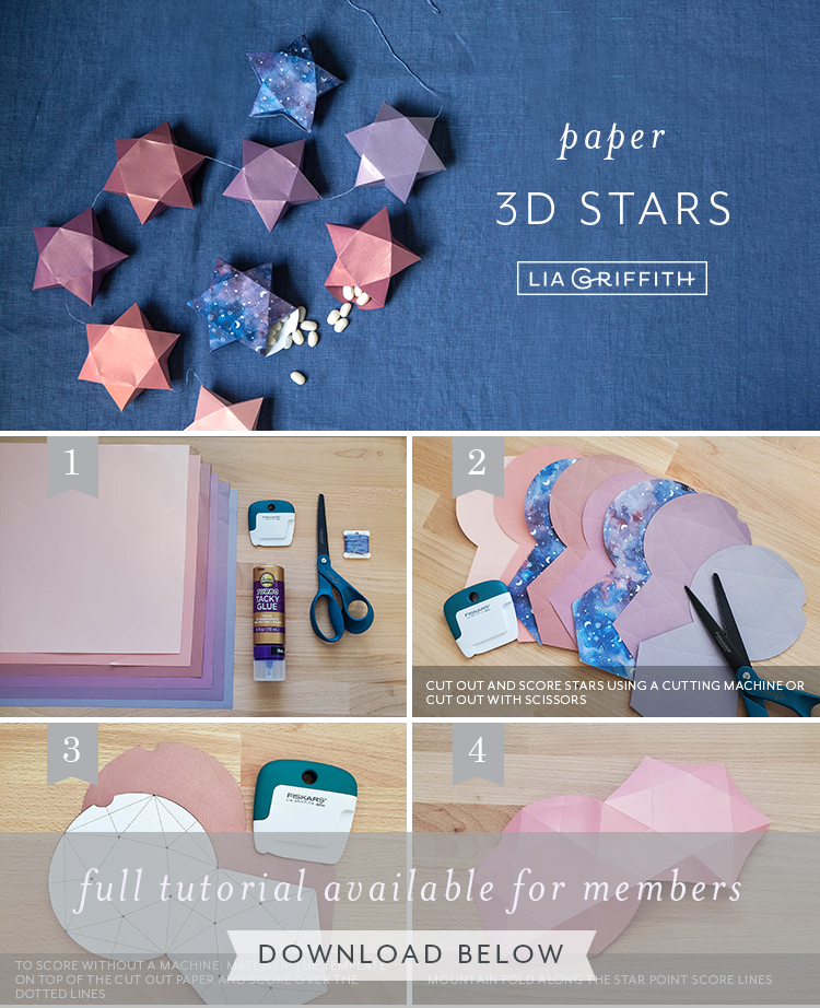 Photo tutorial for frosted paper 3D stars by Lia Griffith