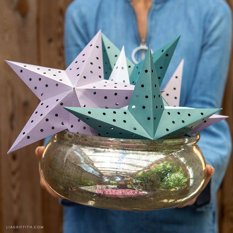SVG cut paper star lanterns
