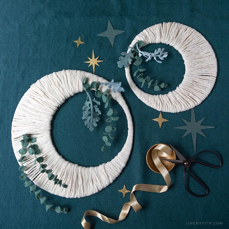 DIY moon wreath with felt eucalyptus