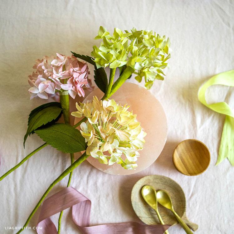 crepe paper hydrangeas