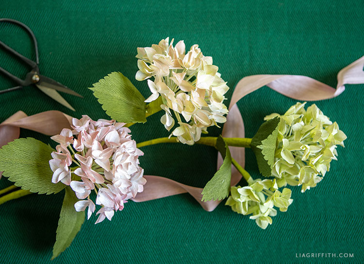 pink, white, and green crepe paper hydrangeas