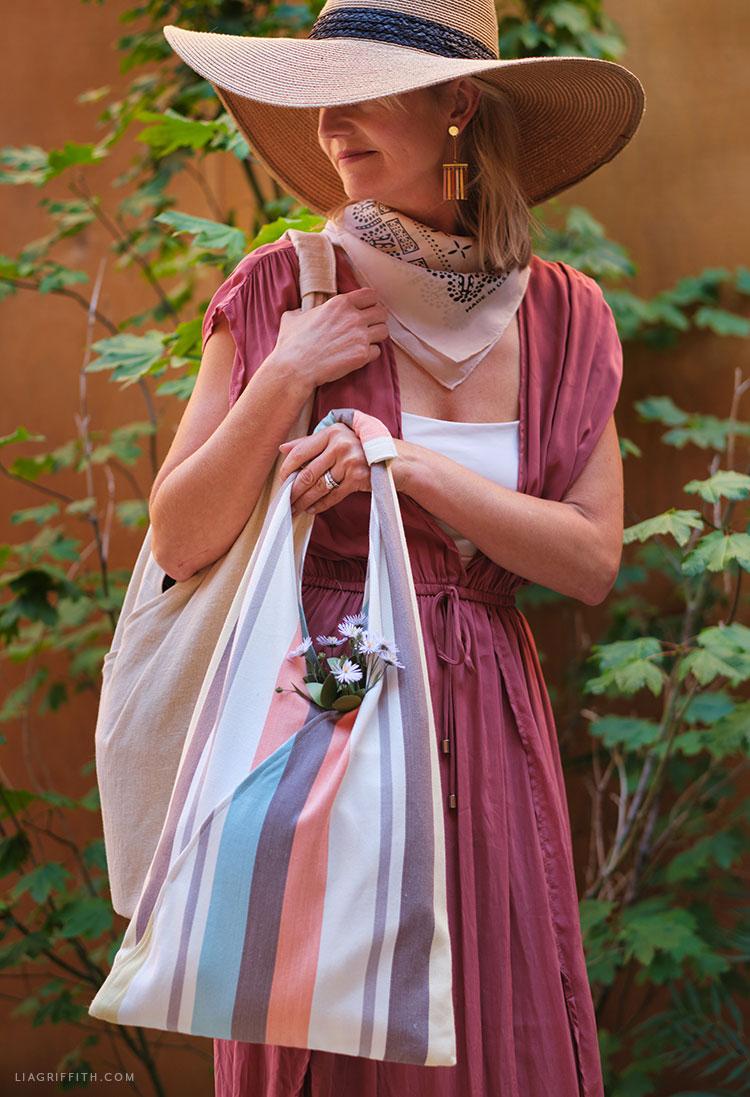 DIY linen tote bags