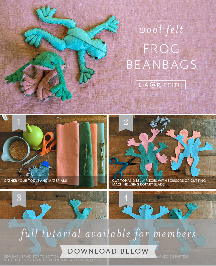wool felt beanbag frogs by Lia Griffith