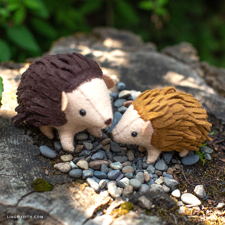 handmade felt hedgehogs