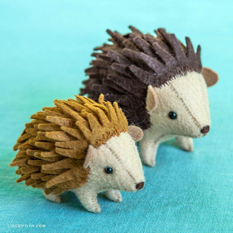 felt hedgehog mama and baby