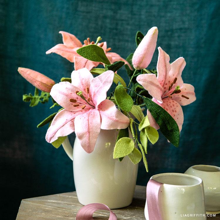 felt lily flower bouquet