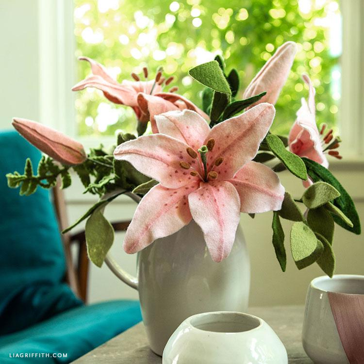 felt lilies and buds