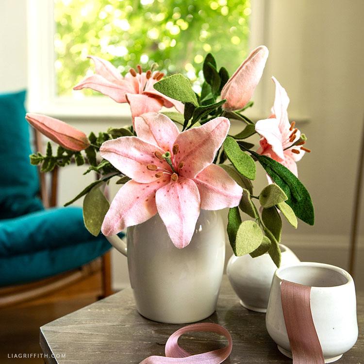 felt lilies and buds flower arrangement