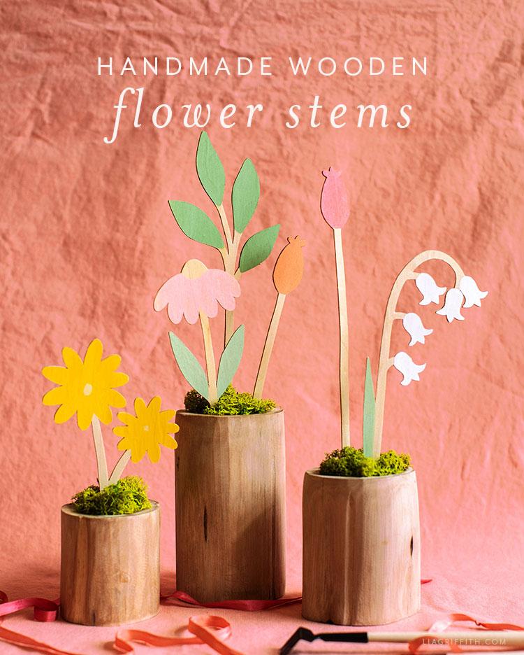 handmade wooden flower stems