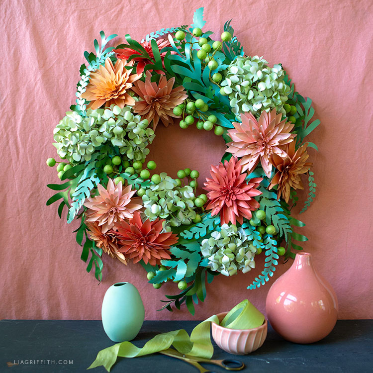 handmade frosted paper flower wreath