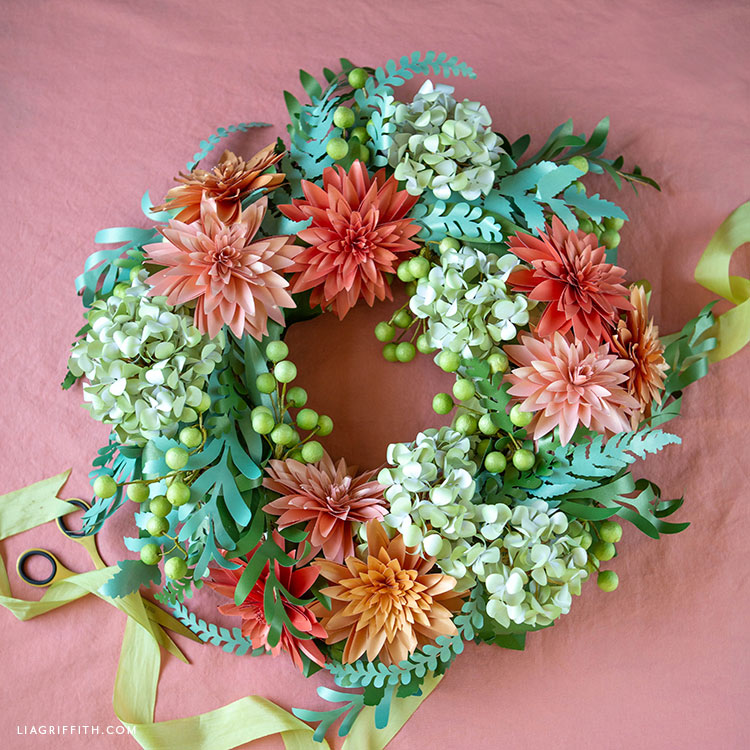 DIY paper flower and greenery wreath