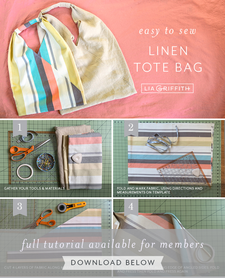 easy to sew linen tote bag by Lia Griffith