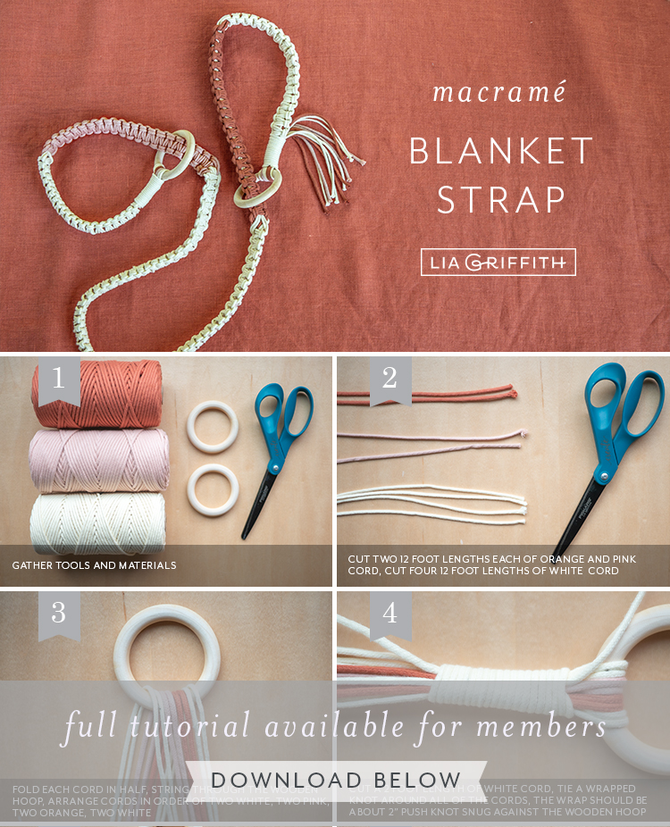 photo tutorial for macrame blanket strap by Lia Griffith