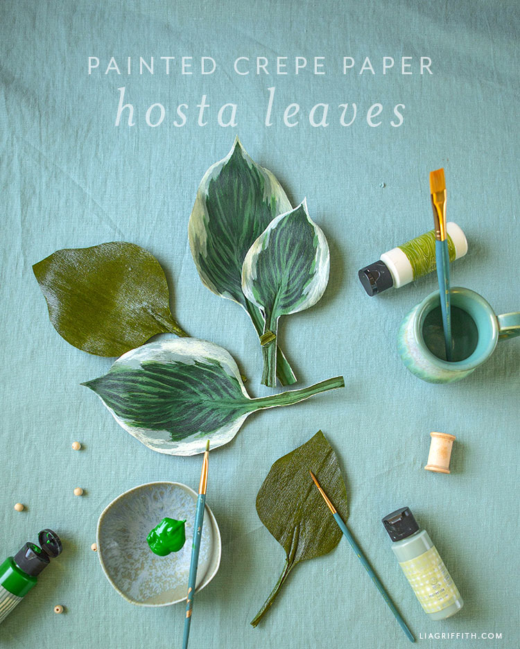 painted crepe paper hosta leaves