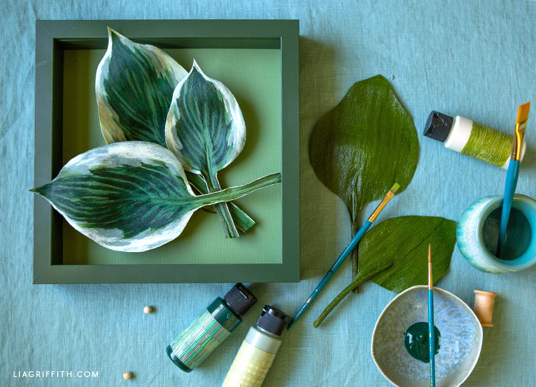 DIY painted crepe paper hosta leaves framed art