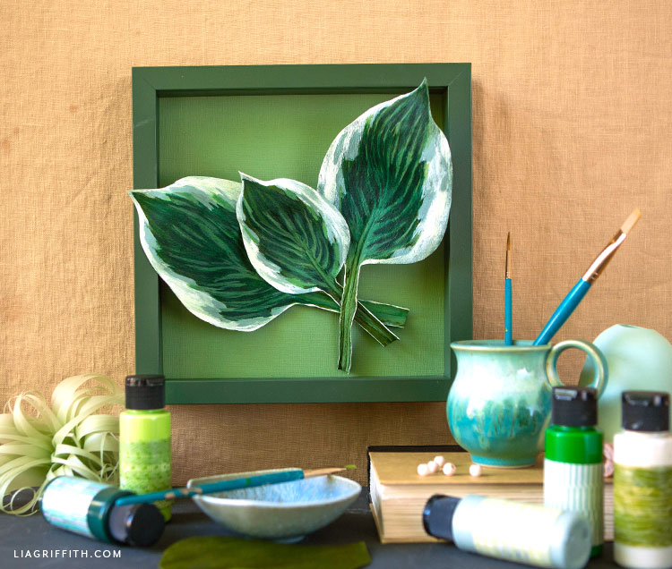 painted crepe paper hosta leaves framed art