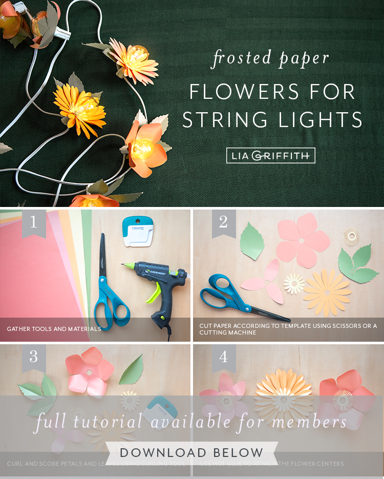 photo tutorial frosted paper flowers for string lights by Lia Griffith