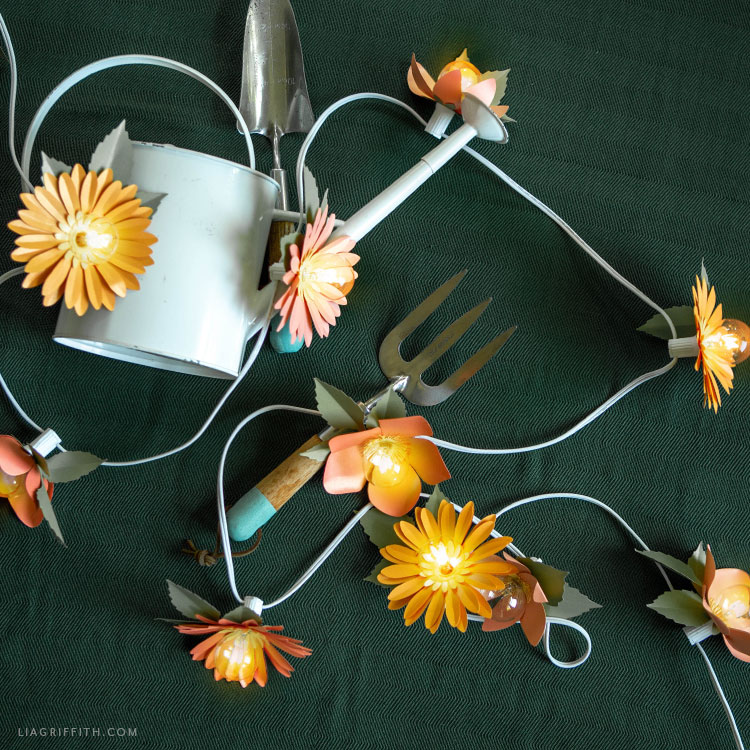 frosted paper flower string lights for garden party
