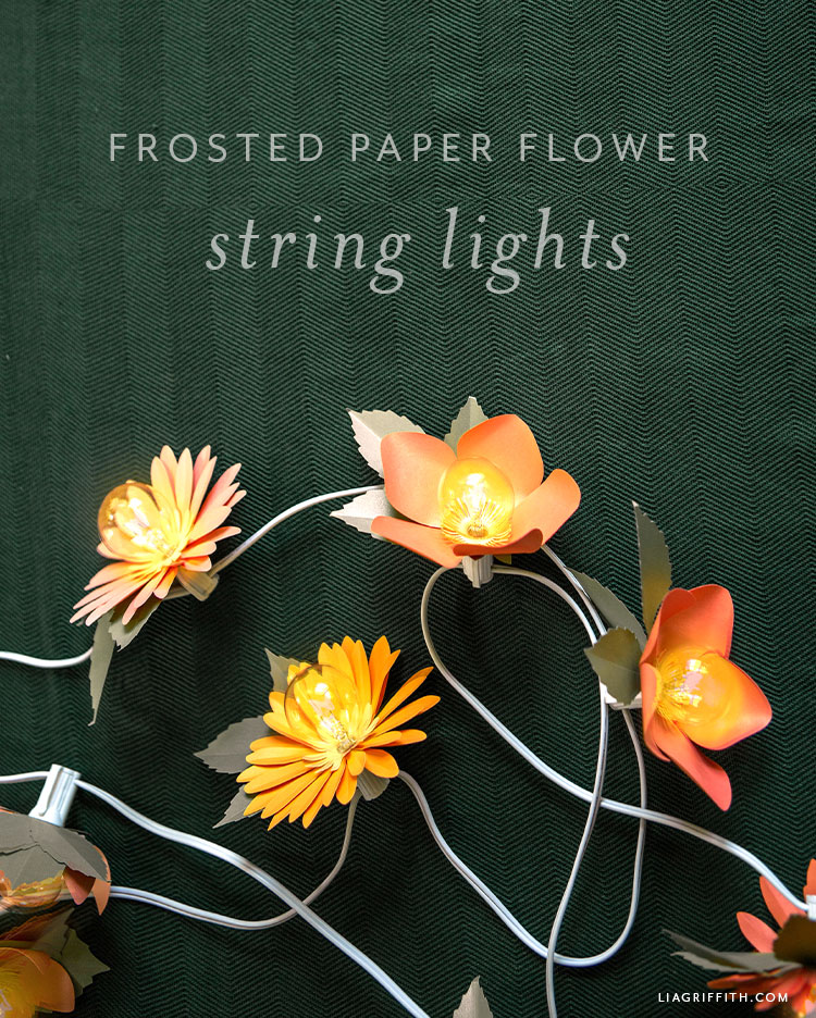 frosted paper flower string lights