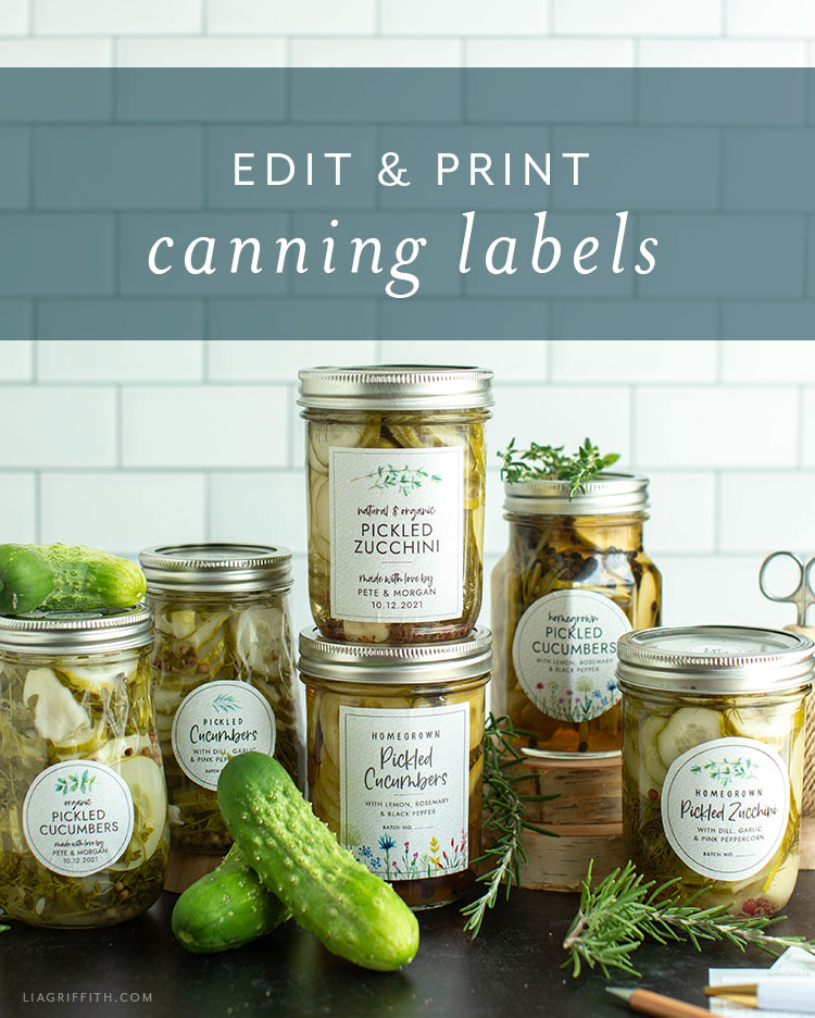 customizable and printable canning labels