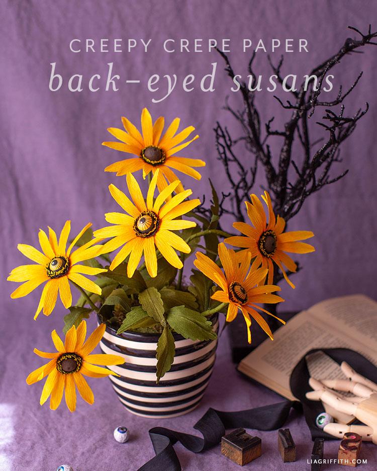 crepe paper black eyed Susans